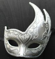 Silver and White Wave Mask